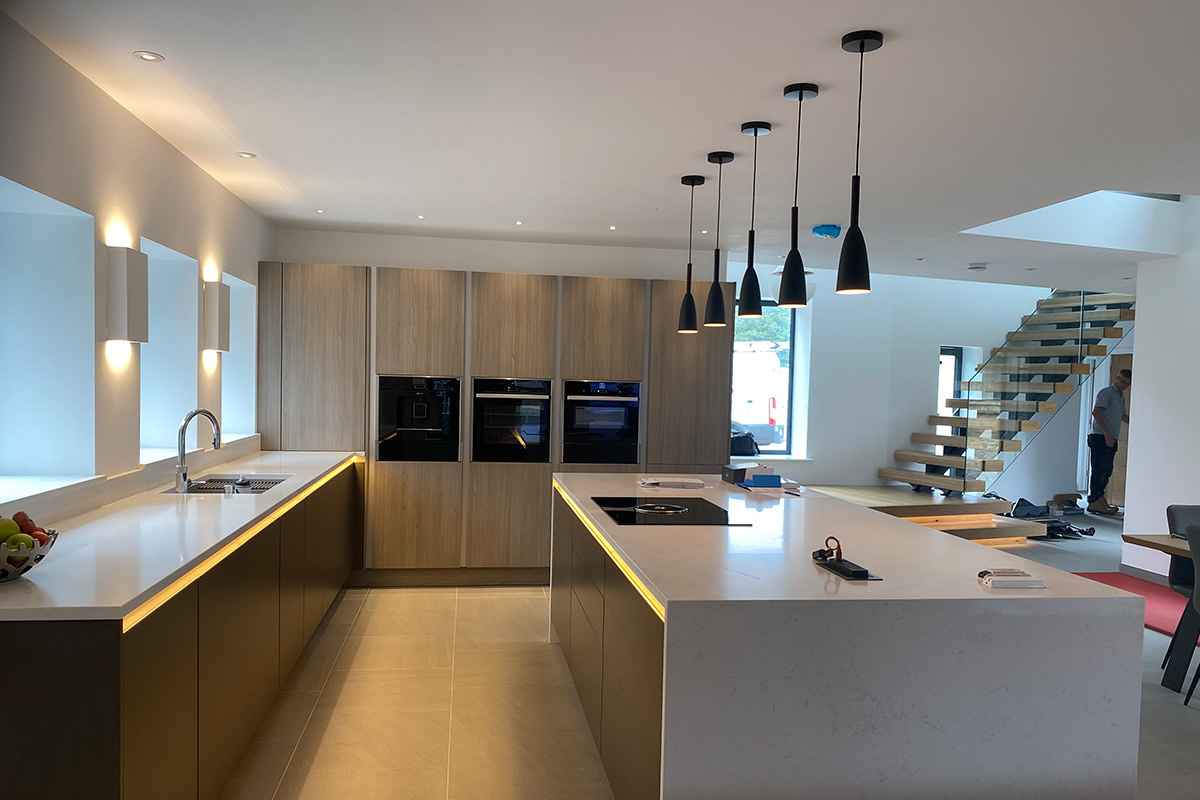 contermporary norfolk home kitchen lighting
