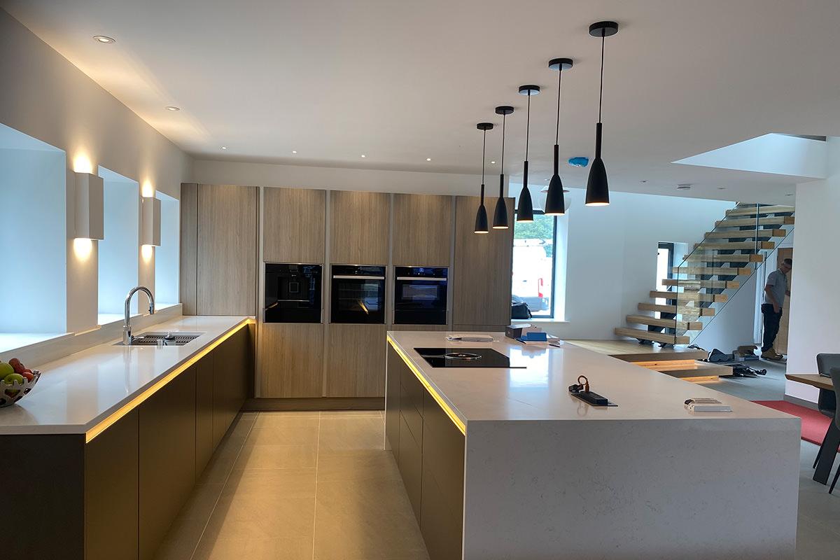 contermporary norfolk home kitchen lighting